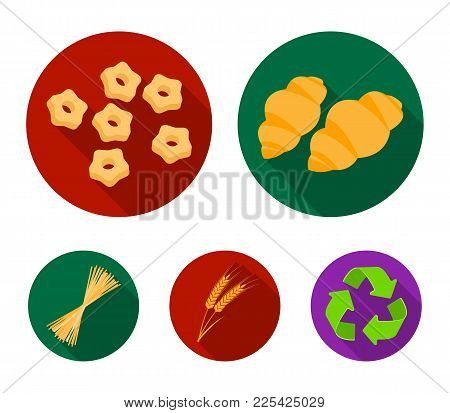Different Types Of Pasta. Types Of Pasta Set Collection Icons In Flat Style Vector Symbol Stock Illu