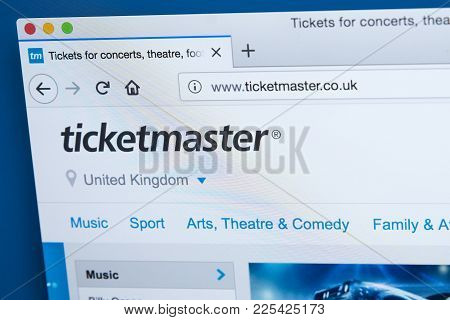 London, Uk - January 8th 2018: The Homepage Of The Official Website For Ticketmaster - The American