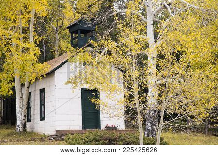 Autumn Image Of Chapel-by-the-wayside In Uptop Ghost Town West Of La Veta, Colorado