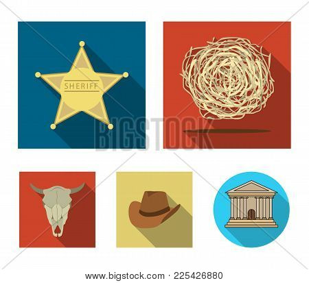 Tumbleweed, Sheriff's Star, Hat, Bull's Skull. West West Set Collection Icons In Flat Style Vector S