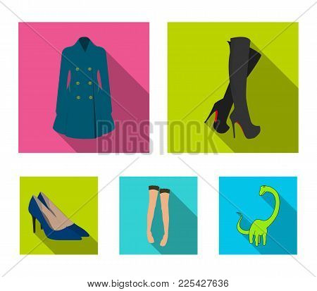 Women's High Boots, Coats On Buttons, Stockings With A Rubber Band With A Pattern, High-heeled Shoes