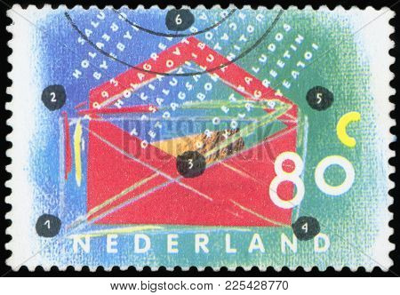 Netherlands - Circa 1994: A Stamp Printed In The Netherlands Shows Open Envelope, Circa 1994.