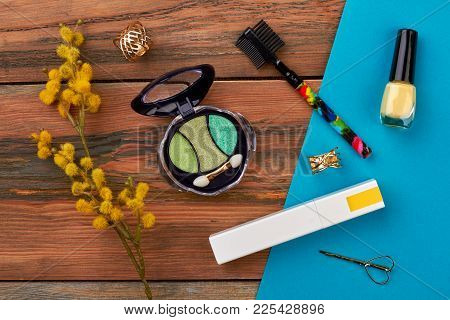 Spring Cosmetics Composition, Top View. Cosmetics Make Up Essentials Decorated With Pussy Willow Twi