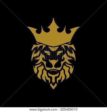Lion Head With Crown Black Colour Logo Wild Graphic Illustration Design Element