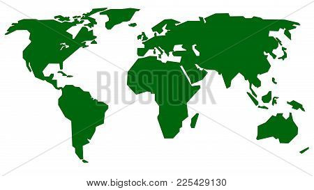 Vector Illustration Of World Map. Continents On White Background, Isolated.