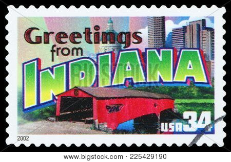 United States - Circa 2002: A Postage Stamp Printed In Usa Showing An Image Of The Indiana State, Ci