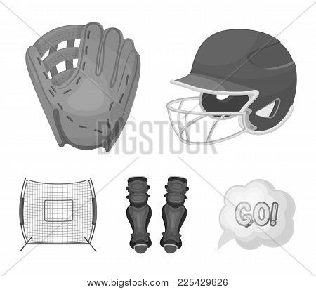 Helmet Protective, Knee Pads And Other Accessories. Baseball Set Collection Icons In Monochrome Styl