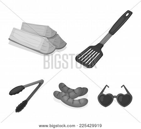 Blade Kitchen, Firewood, Sausages And Other For Barbecue.bbq Set Collection Icons In Monochrome Styl