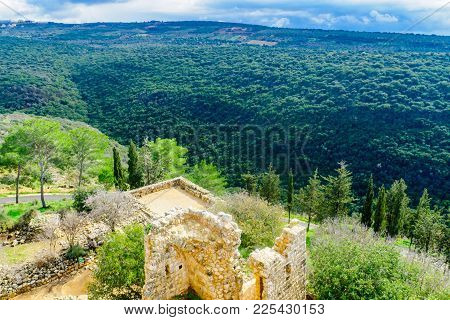 Remains Of The Yehiam Fortress, From The Crusader And Ottoman Period, And Landscape Of Yehiam Stream