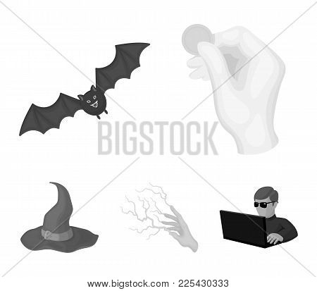 Focus With A Coin, A Bat, A Mage's Hat, A Lightning-fast Spell.black And White Magic Set Collection
