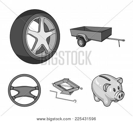Caravan, Wheel With Tire Cover, Mechanical Jack, Steering Wheel, Car Set Collection Icons In Monochr