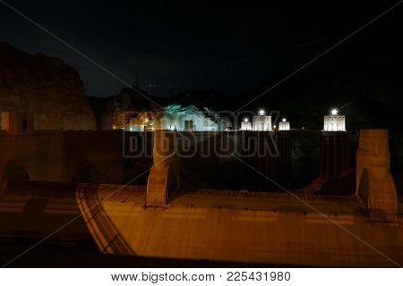 The Hoover Dam Bridge In The Night.