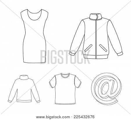 A Mans Jacket, A Tunic, A T-shirt, A Business Suit. Clothes Set Collection Icons In Outline Style Ve