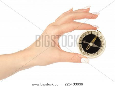 Compass In Hand On White Background Isolation