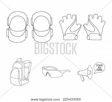 Gloves, Elbow Pads, Goggles, Cyclist Backpack.cyclist Outfit Set Collection Icons In Outline Style V
