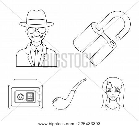Lock Hacked, Safe, Smoking Pipe, Private Detective.detective Set Collection Icons In Outline Style V