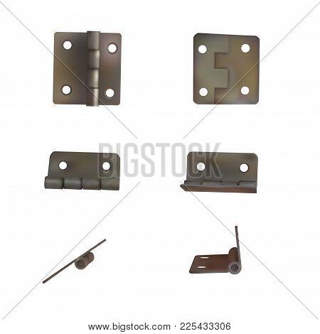 Hinge For Doors Vector Illustration. Set Of Brass Or Bronze Industrial Ironmongery. Mechanism For Re