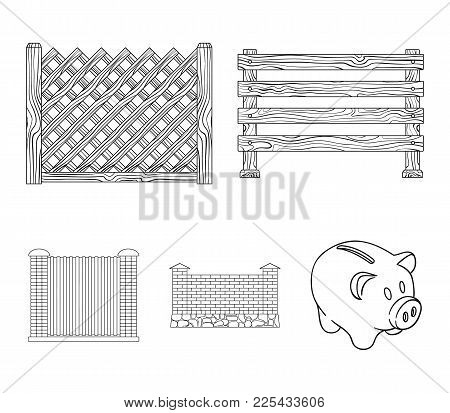 A Fence Of Metal And Bricks, Wooden Palisade. A Different Fence Set Collection Icons In Outline Styl