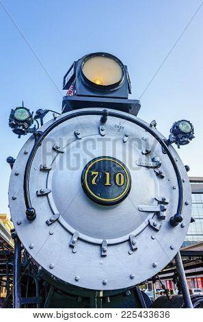 Nebraska, Usa - Aug 8, 2017: Chicago Burlington & Quincy Locomotive #710, At Lincoln Station In The