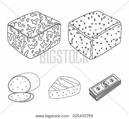 Brynza, Smoked, Colby Jack, Pepper Jack.different Types Of Cheese Set Collection Icons In Outline St