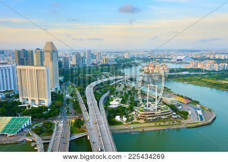 Singapore Skyline, Ferries Wheel, Aerial