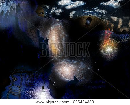 Tree with hanging light bulb human with galaxy mind and floating flaming eye with rectangular shapes and small circles abstract. 3D rendering