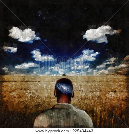 Surreal painting. Man with galaxy inside of his head stands in the field of wheat. 3D rendering