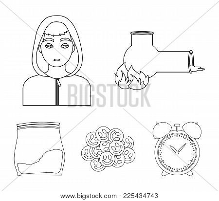 Vong, Drug Addict, Package With Marijuana, Ecstasy. Drugs Set Collection Icons In Outline Style Vect