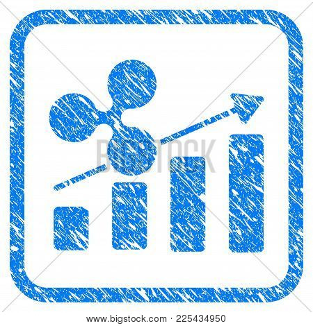 Ripple Growing Bar Chart Rubber Seal Stamp Imitation. Icon Vector Symbol With Grunge Design And Uncl