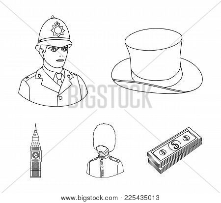 England, Gentleman, Hat, Officer .england Country Set Collection Icons In Outline Style Vector Symbo