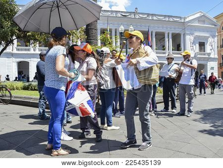 Quito, Ecuador, December 17, 2017: Street Musicians Perform In Front Of Carondelet Palace In Histori