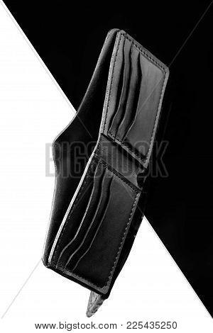 Wallet Of Black Crocodile Skin.luxury Wallet.black And White Background