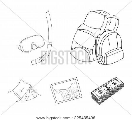 Travel, Vacation, Backpack, Luggage .family Holiday Set Collection Icons In Outline Style Vector Sym