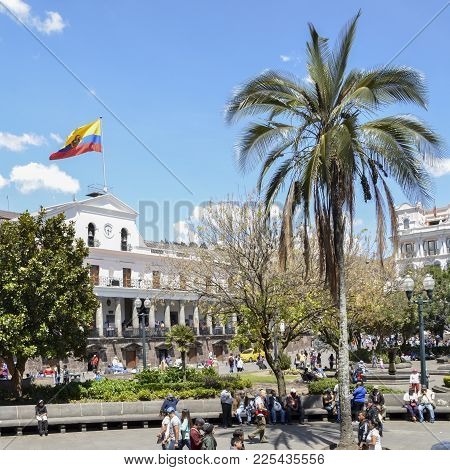 Quito, Ecuador, December 17, 2017: Carondelet Palace Is The Seat Of Government Of The Republic Of Ec