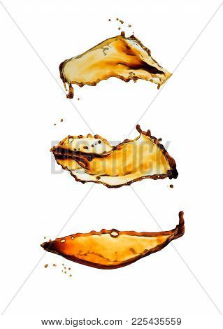 Black Coffee Splash Set Isolated On White Background.