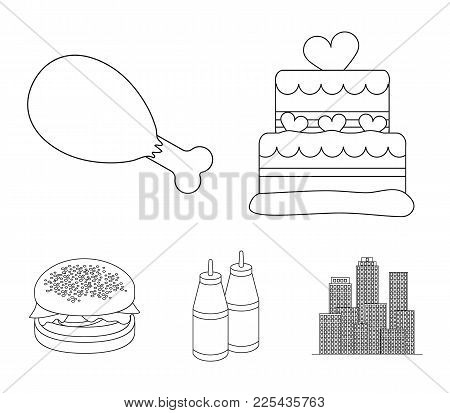 Cake, Ham, Sauce, Burger. Fast Food Set Collection Icons In Outline Style Vector Symbol Stock Illust