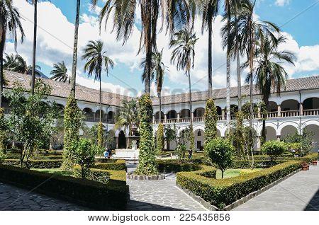 Quito, Ecuador, December 17, 2017: Tropical Garden Inside Church And Monastery Of St. Francis Is A 1