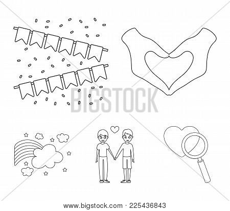 Hand With Heart, Flag, Men.gayset Collection Icons In Outline Style Vector Symbol Stock Illustration