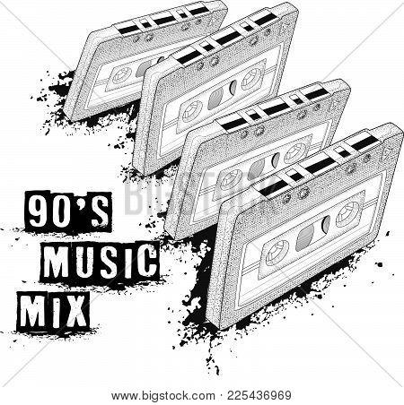 Audio Cassette, Symbol Of Retro Music. 90's Music Mix. 80's Party,  Pop Music Party 1990, Vintage Ni