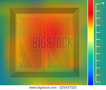 Window On The Wall From The Front Vector Illustration. House Facade For A Thermal Imager. Colored Th