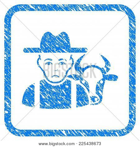 Cattle Farmer Rubber Seal Stamp Watermark. Icon Vector Symbol With Grunge Design And Dirty Texture I