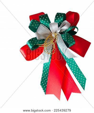 Red And Green  Gift Ribbon Bow , Isolated On White Background.  (clipping Path)