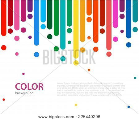 Abstract Vector Color Background With Empty Place For Text. Abstract Colorful Rainbow Rain. Color Li
