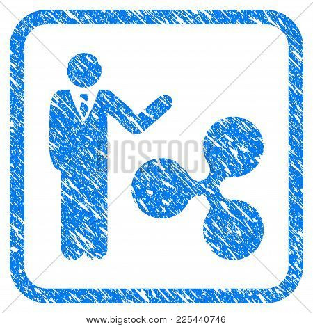 Businessman Show Ripple Rubber Seal Stamp Imitation. Icon Vector Symbol With Grunge Design And Dust