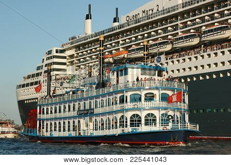 Hamburg, Germany - August 19, 2012: The Historic Cruise Ship Louisiana Star And The Modern Cruise Sh