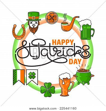 Vector Set Of St. Patricks Day Icon Situated On Circle With Handwritten Text In The Middle. Holiday