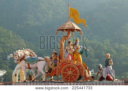Rishikesh, India - November, 4th, 2017. View Of Statues In Hinduist Temple Shri Makar Vahani Ganga J