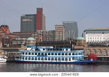 Hamburg, Germany - March 18, 2012: Historical Vessel Louisiana Star In Hamburg River Port. The Passe