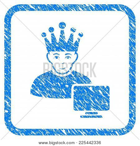 Computer Moderator Rubber Seal Stamp Imitation. Icon Vector Symbol With Grunge Design And Dust Textu