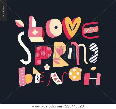 Love, Spring, Bench Fun Lettering On The Dark Background
